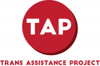 TAP logo. TAP in white on a red circular background Trans Assistance Project