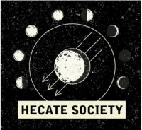 Hecate society logo with Black background and the moon phases in the middle