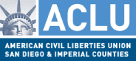 ACLU San Diego logo with white letters on blue text and statue of liberty