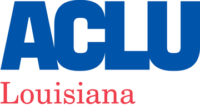 ACLU of Louisiana logo, blue and red text on white background