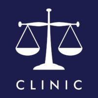 CLINIC logo featuring white scales on navy blue background
