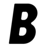 Borderless Magazine logo. White background with capital B letter in black.