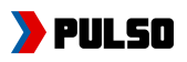 "Pulso logo. White background with black text that reads"" PULSO"" in capital letters. To the left is an image of a thick red bracket, and a thinner blue one behind it."