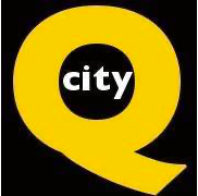 "QCItyMetro logo. Black background with a large, yellow Q in the middle. In the center of the Q is text that reads ""city"" in white letters."