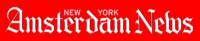 """Amsterdam News logo. Red background. White text reads """"Amsterdam News"""" in white letters. Smaller text above reads """"New York"""" in white letters."""