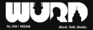 "WURD Radio logo. Black background with white text that reads"" WURD. The ""U""s negative space depicts a microphone, the ""R"" negative space as image of a person's side profile, and the ""D""s center is of a building. Smaller text text beneath reads 96.1 FM 900AM and Black. Talk. Media."