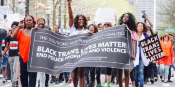 Black Trans Lives Matter banner in protest