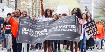 Black Trans Lives Matter banner in protest