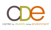 """Center for Diversity and the Environment logo. Capital letters CDE, """"C"""" in dark purple, """"D"""" in light green, and """"E"""" is orange."""