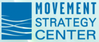 Movement Strategy Center logo. Let blue square with white horizontal wavy lines cutting across.