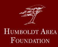 """Humboldt Area Foundation logo. Red background, tree outlined in white above text that reads """"Humboldt Area Foundation"""" in white."""