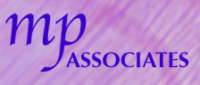MP Associates logo. Purple translucent background and blue text.